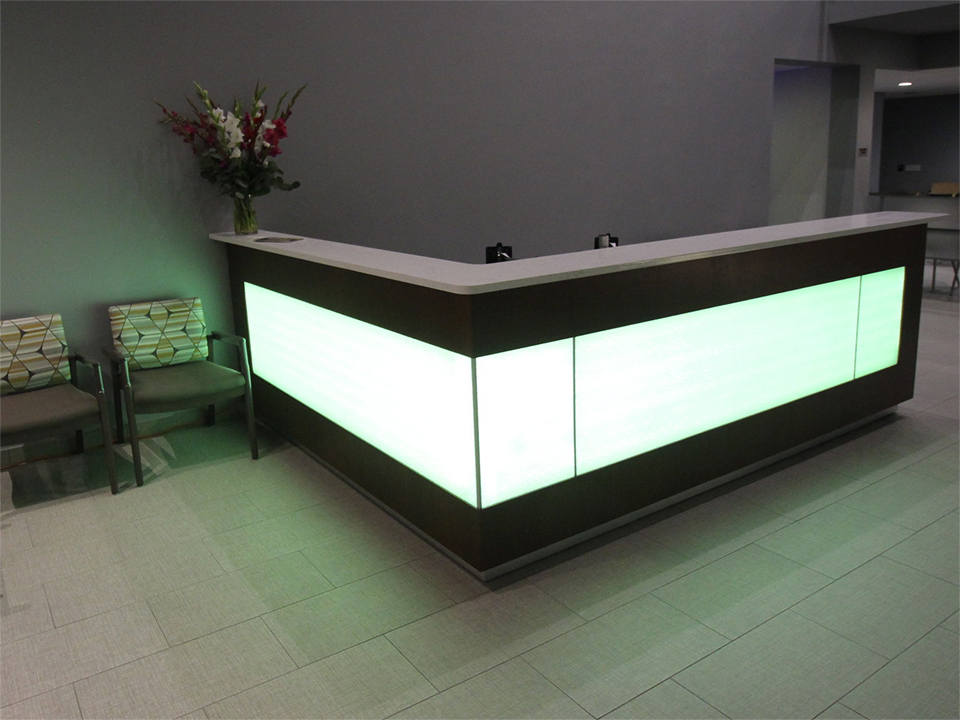 High-Craft Reception Desks - The largest supplier of dental equipment, Benco Dental, came to us with the desire to establish themselves as a complete solution provider for dental practices. To help them get there, we created a set of custom reception desks to feature in their showrooms.