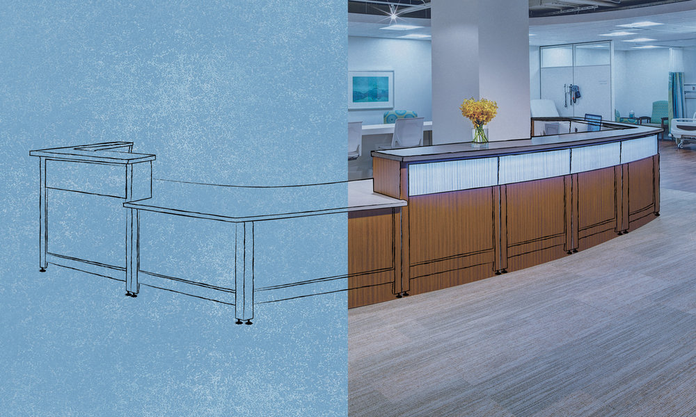 Millwork Meets Modularity - To create adaptable designs with streamlined power and data, we integrate the infrastructure of systems furniture into reception desks, transaction tops, and tables.