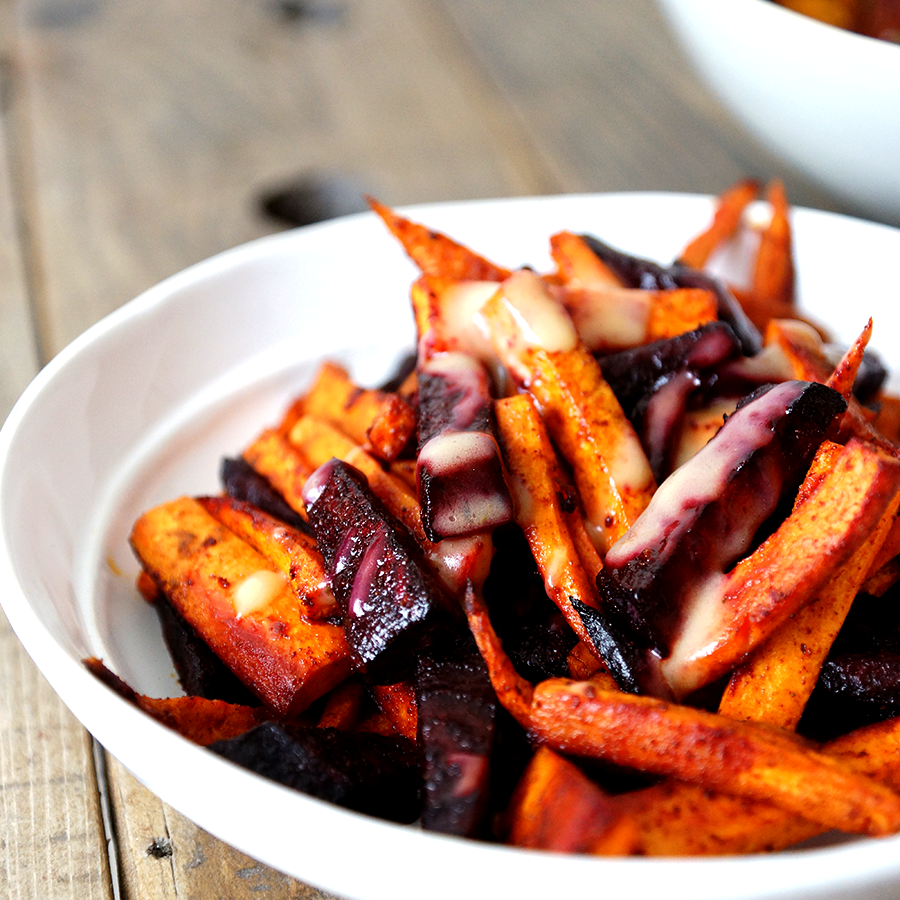 ROASTED BEETS AND SWEET POTATO FRIES WITH TAHINI  Simply oven roast or grill them in olive oil and salt, then drizzle tahini dressing over them. How easy is that for an addictive yet healthy side dish.