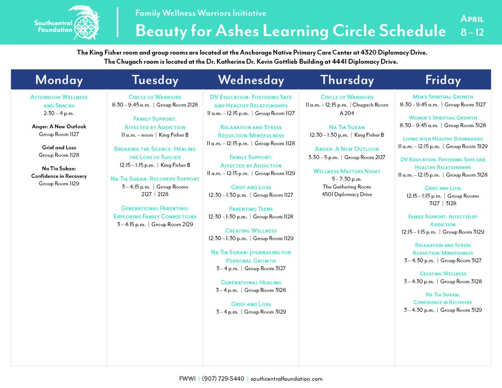 The learning circles will be taking place in a different location the week of April 8-12th, 2019