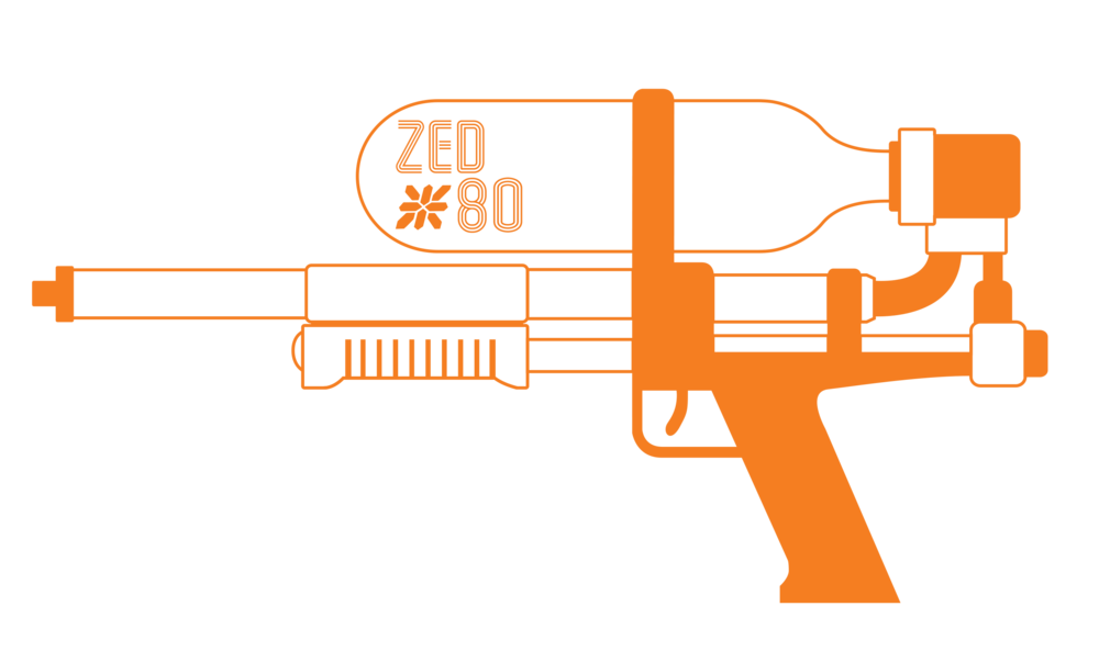 An illustration of a super soaker water gun with the Zed*80 logo on it.