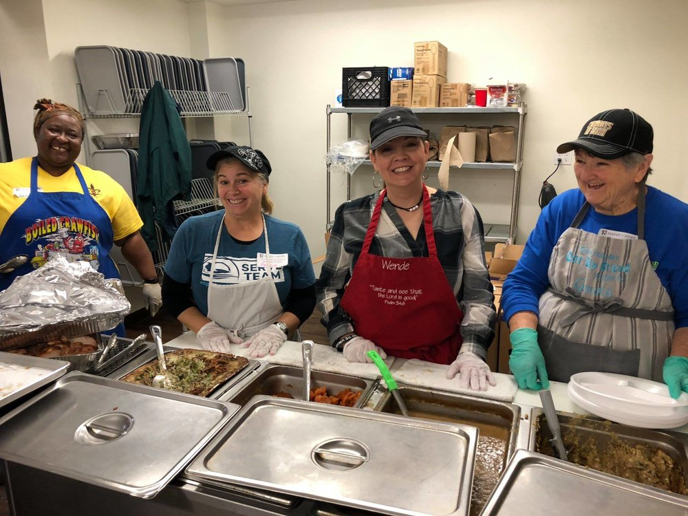 Volunteer:Tuesdays and THursdays - 1. Prepare Meals: 8 a.m. until 10 a.m. 2. Serve Meals: 11 a.m. until 12:45 p.m.