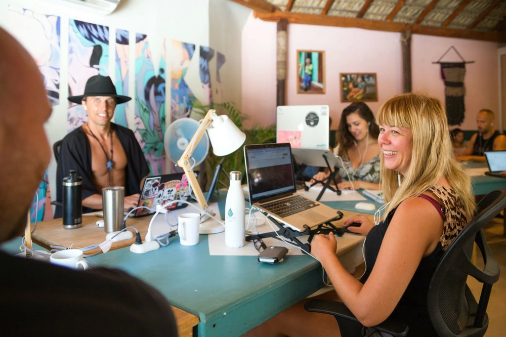 blokdigi co-founder Michael Palm in his element (and a kimono) at the Selina co-work in Puerto Escondido.  Photo Credit:    Selina LTD