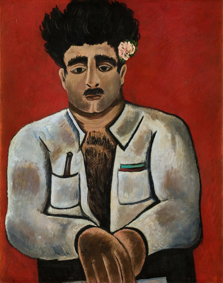 """Marsden Hartley,  Adelard the Drowned, Master of the """"Phantom"""" , c. 1938–39, oil on board, 28 × 22 in., The Frederick R. Weisman Art Museum at the University of Minnesota, Minneapolis, bequest of Hudson D. Walker from the Ione and Hudson D. Walker Collection"""