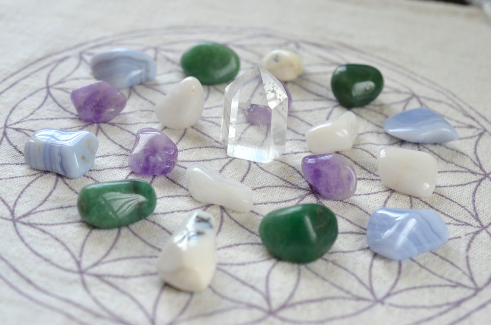 We have a collection of beautiful healing crystals and can help you to pick ones that will support your well-being.  Prices range from 24 cents to 20 dollars.