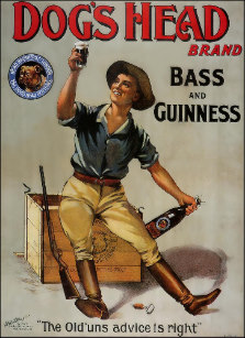 Guiness ad from 1910s. Noticeably different style and branding from Gilroy's creative.
