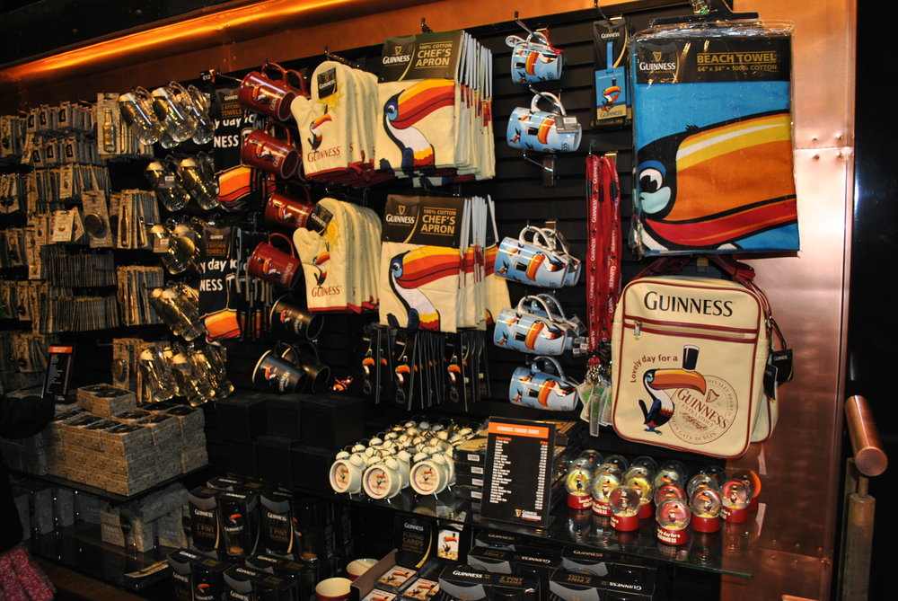 Picture of gift store in Dublin Guinness Museum. Note the toucans.