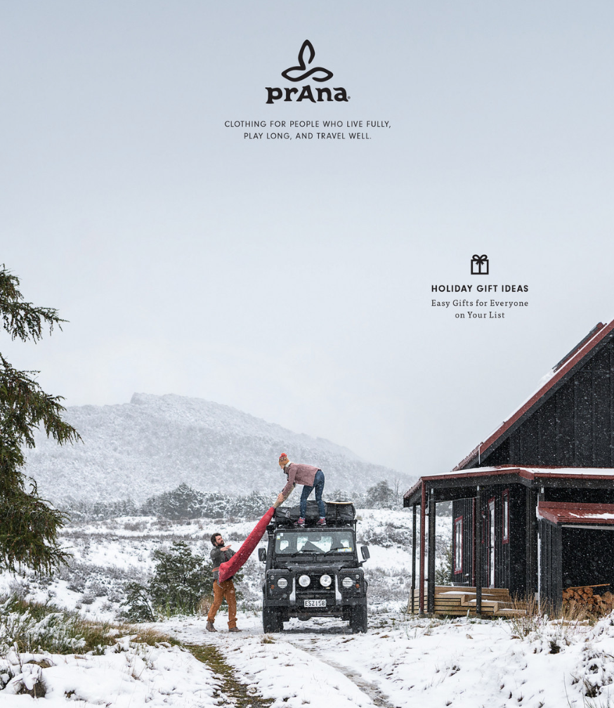 Portion of Prana's value proposition (under logo) featured on front cover of their 2018 Holiday catalog.