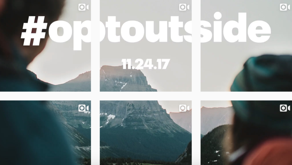 REI's annual Opt Outside Black Friday Campaign as seen on their Instagram feed in 2017.