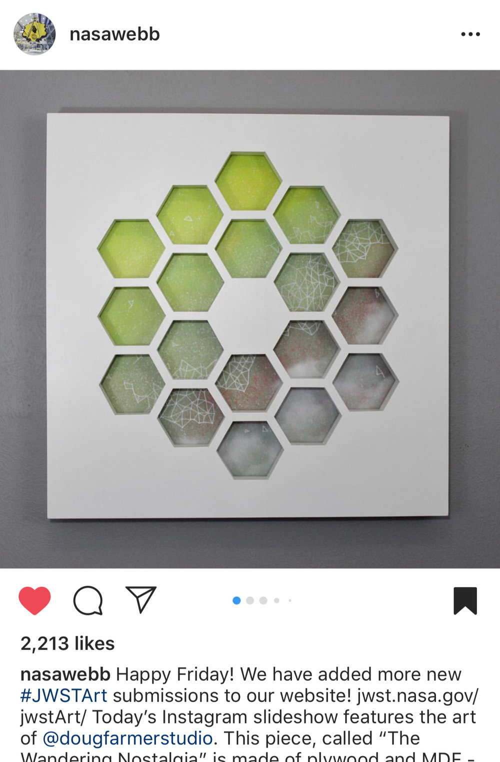 Feature post from @nasawebb, the Instagram account for the James Webb Space Telescope
