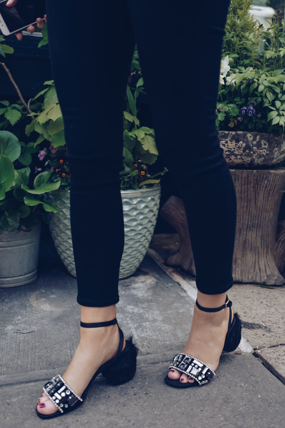 black fluffy heeled shoes