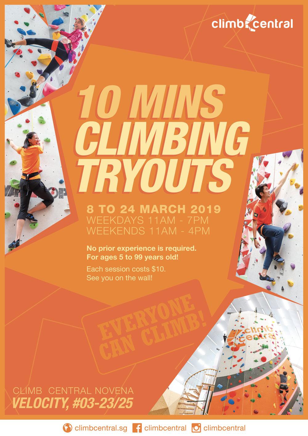 Climb Central Novena - 10 mins climbing tryouts