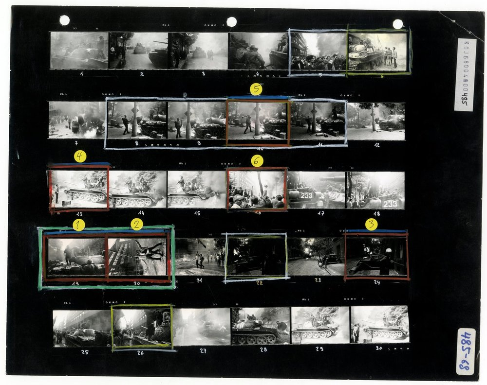 Josef Koudelka's  contact sheet from the Prague invasion, August 1968.