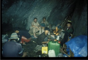 Here, the porters, cook, and I are eating dinner beneath a large rock during a monsoon rain. Later, my Masters student Jeff Moffett went to work in the Himalayas with Lhakpa; and my PhD student, Alark Saxena, also did research in the Himalayas of Nepal.