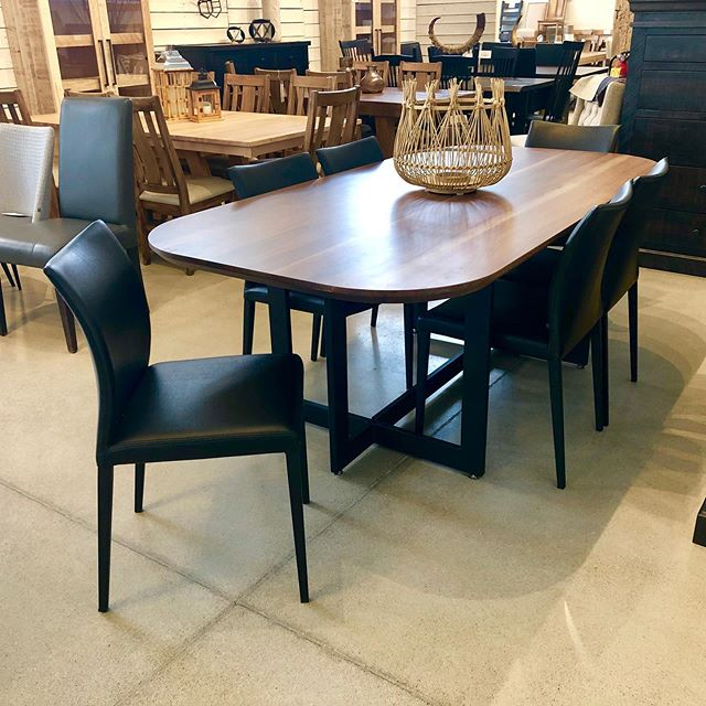 Solid Walnut Renzo 1 3/4 top with our new modern chair line!!