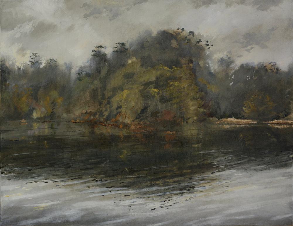 RHSK005 Matsubarako Lake Winter Evening Mist  ( oil on linen ) 85 x 110