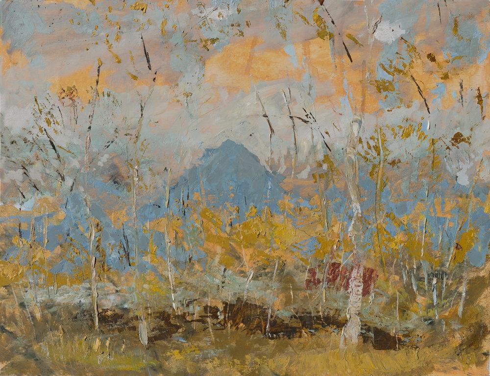 RHSK064 Ogura San beyond Silver Birch II  ( oil on panel ) 46 x 60
