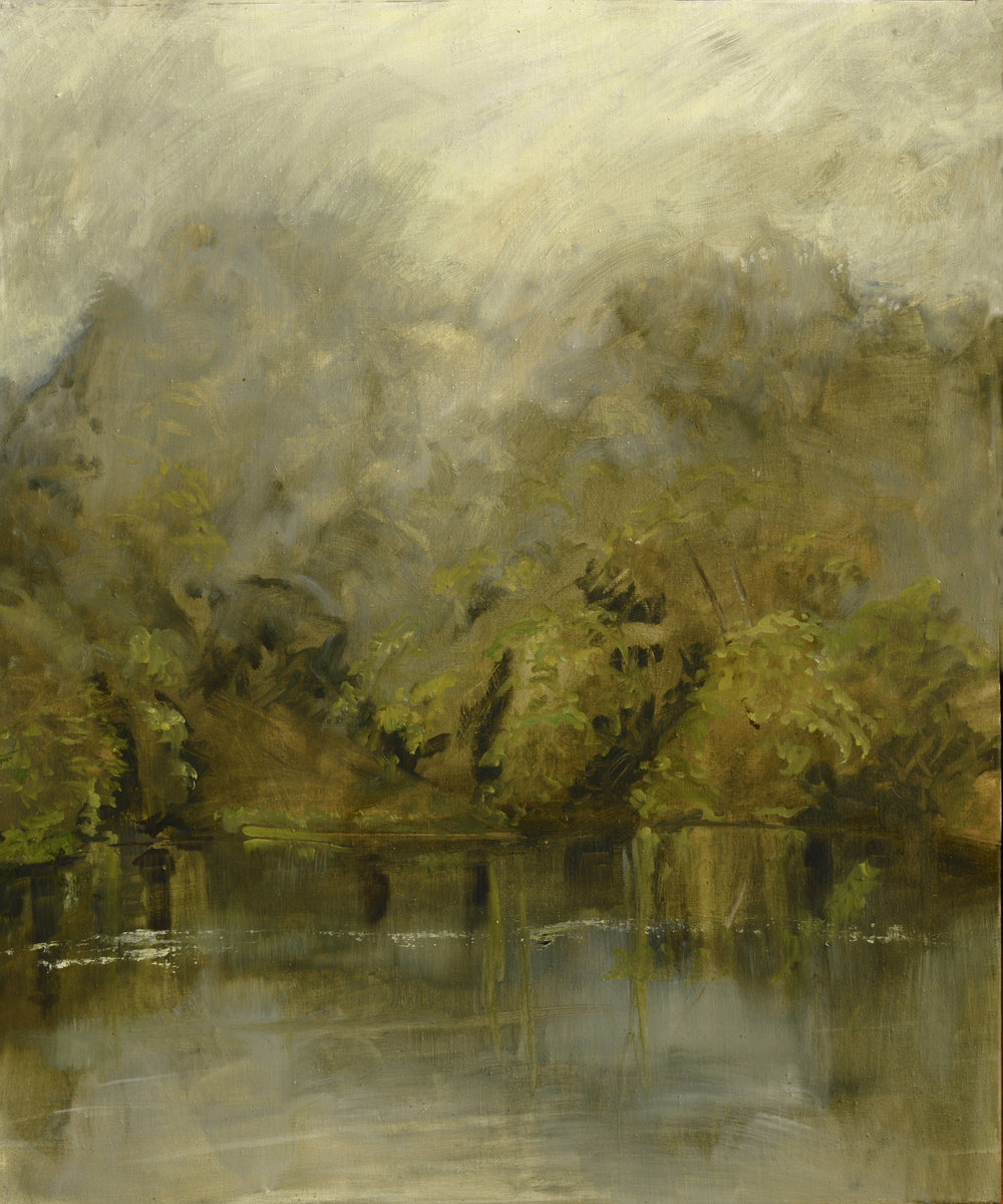 RHSK105 Matsubarako Lake Summer Rain Mist  ( oil on linen ) 110 x 91.5