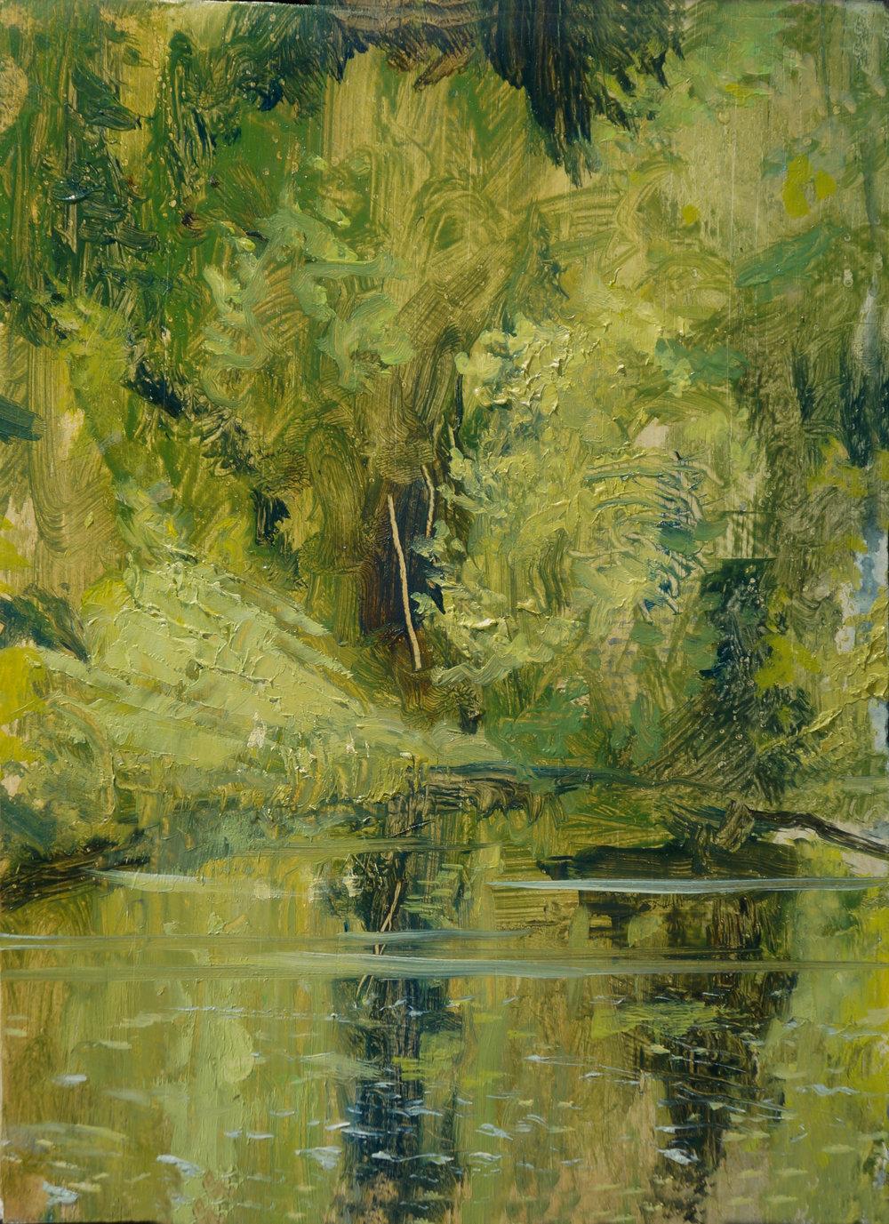 RHSK012 Lake Matsubarako Late Summer 2017  ( oil on panel ) 20.5 x 16