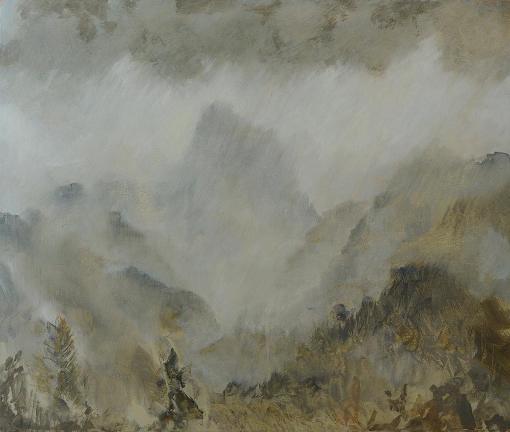 RHSK074 Shinkai Valley Rain Light  ( oil on panel ) 45.5 x 54