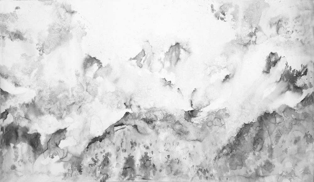 RHSK108 Tengudake Snow Light  ( ink on paper ) 79.5 x 136