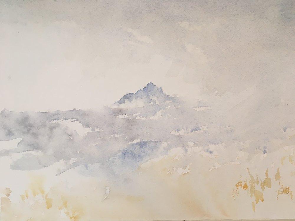 RHSK130 Ogura San beyond Storm Rain  ( watercolor ) 28 x 36.8