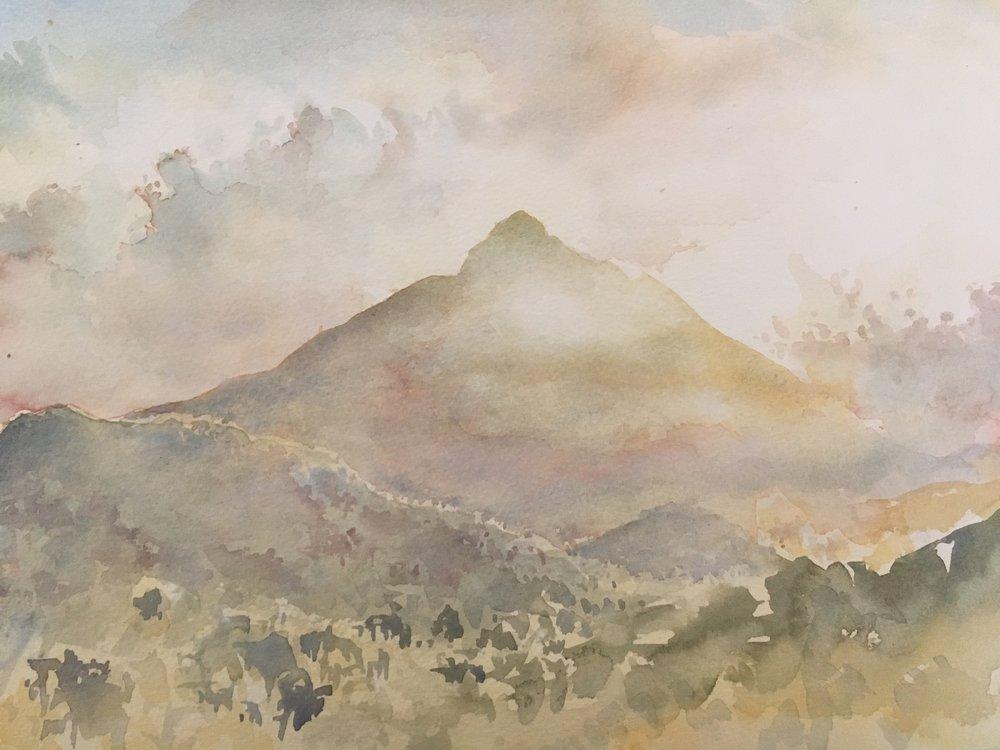 RHSK150 Hill of Light Shikoku  ( watercolor ) 28 x 36.8