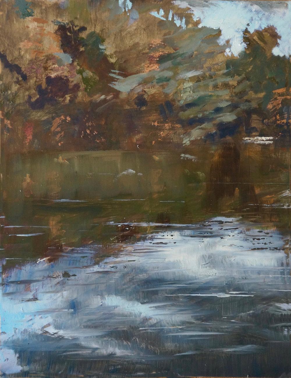 RHSK034 Matsubarako Lake Autumn Stillness ( oil on panel ) 595 x 455