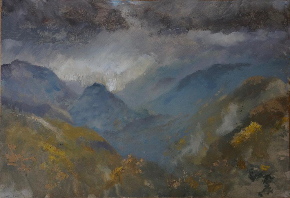 RHSK018 Distant Snow Gleam on Tengudake  ( oil on panel ) 45.5 x 66