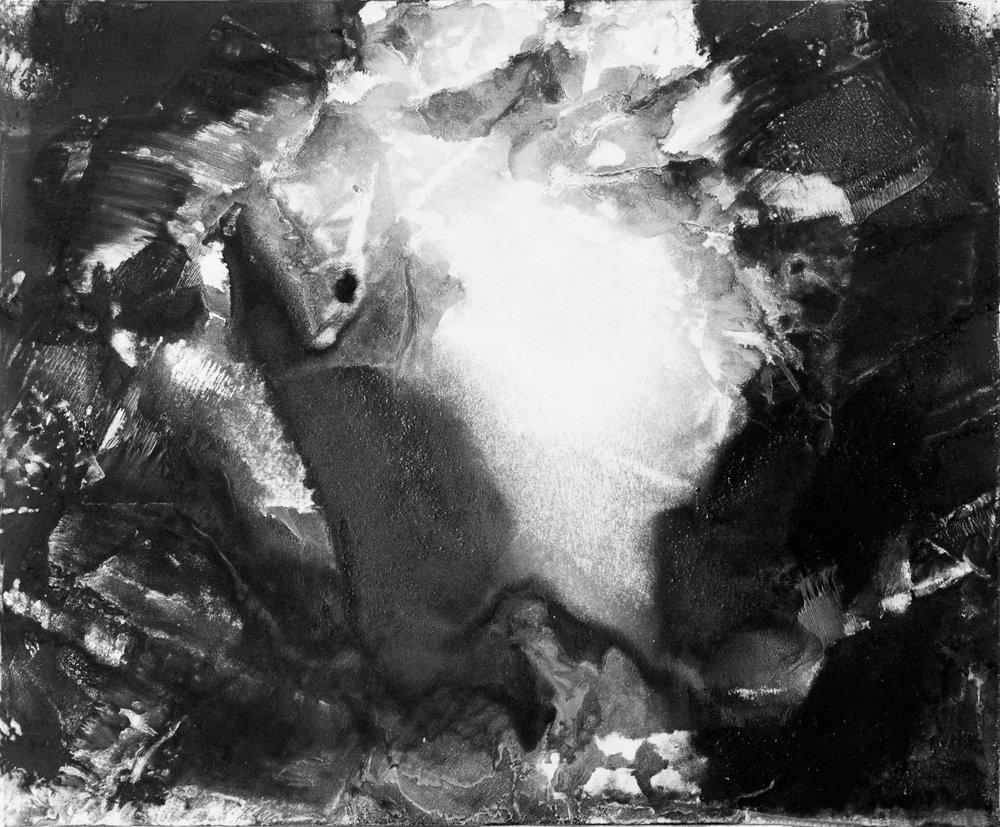 RHSK069 Mountain Heart Eruption  ( Monotype ) 37.5 x 31.5