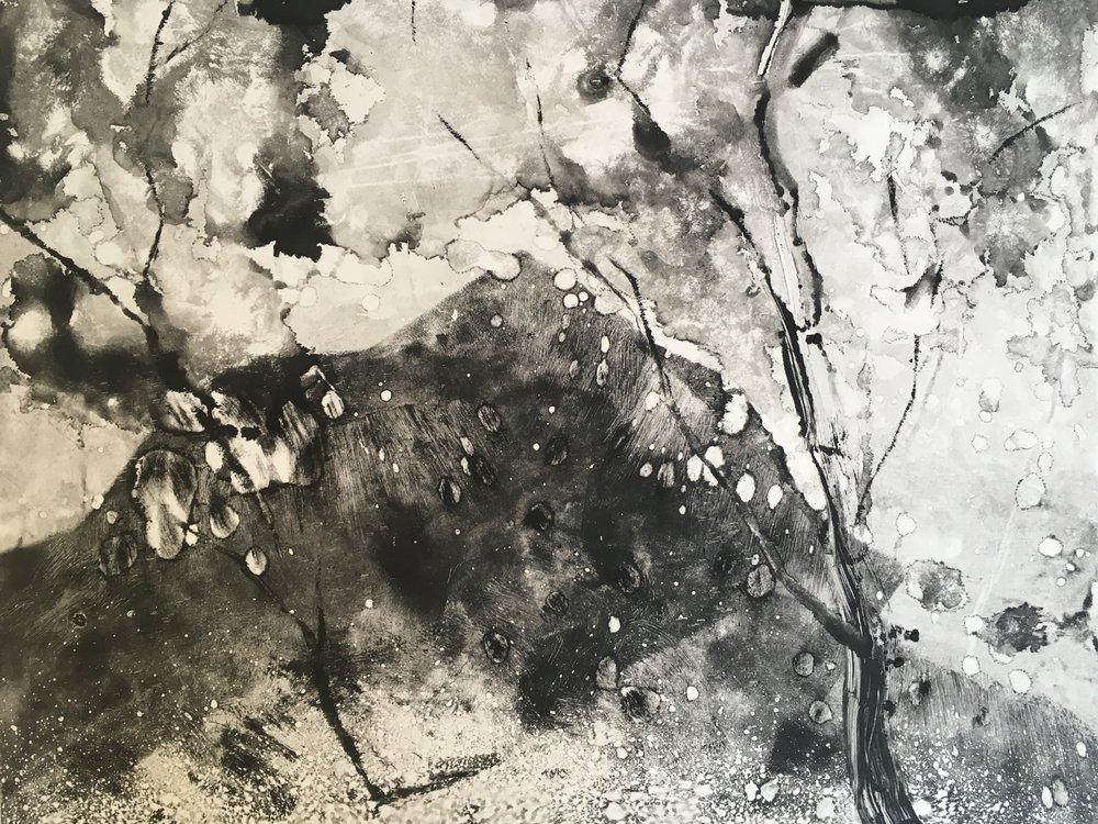 RHSK127 Mountain Beyond Winter Trees  ( monotype ) 31 x 38