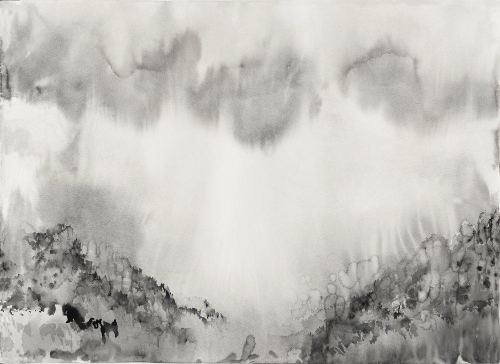 RHSK087 Descending Light Shinkai Valley Winter II  ( ink on paper ) 54 x 79