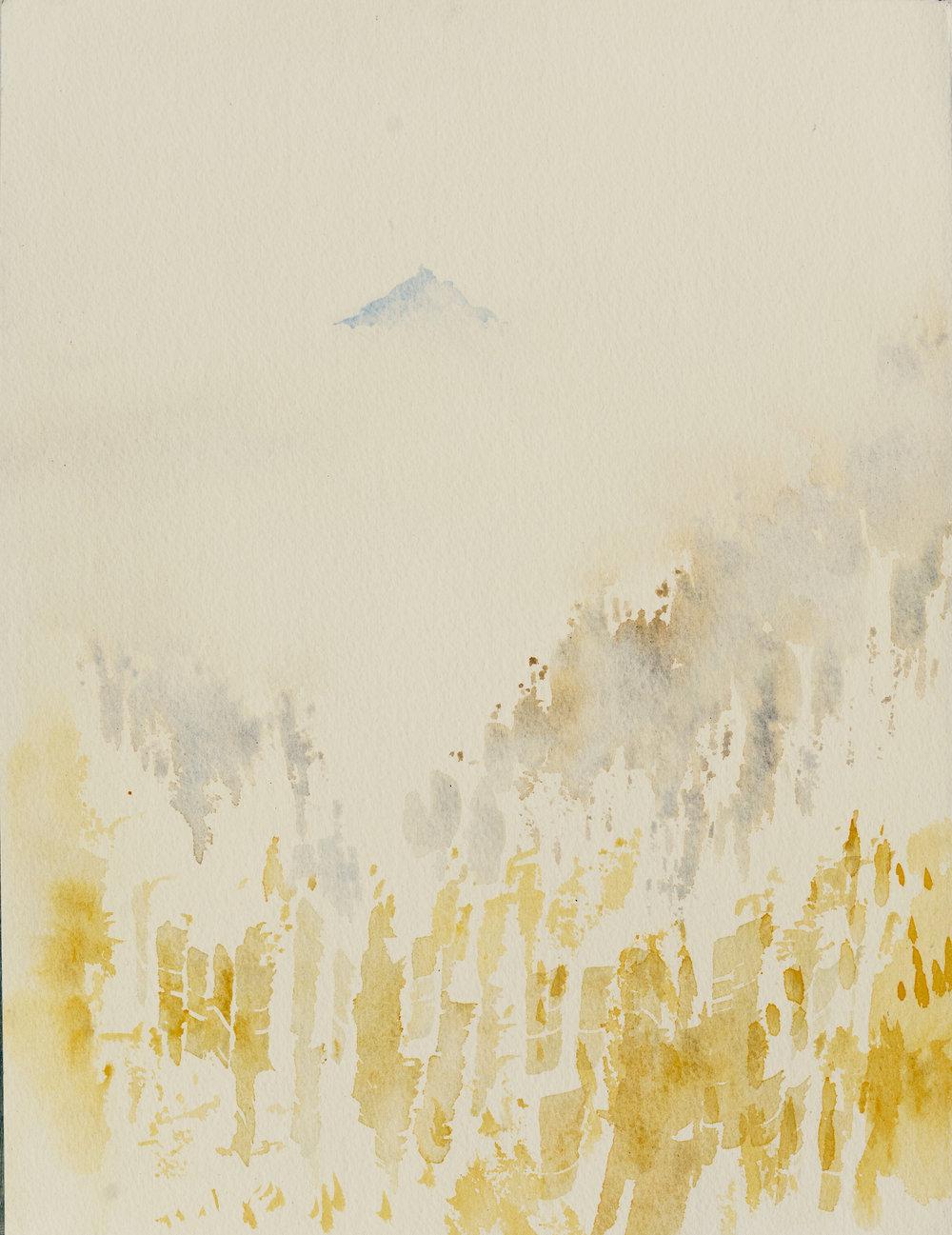 RHSK094 Ogura San rising above Autumn Clouds  ( watercolour ) 36.8 x 28
