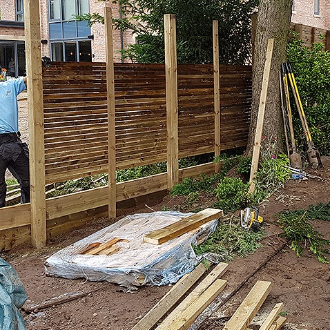 Rear of fence-here you can see the support baton and the construction process. - Tatton Fencing (One of our recommended contractors)