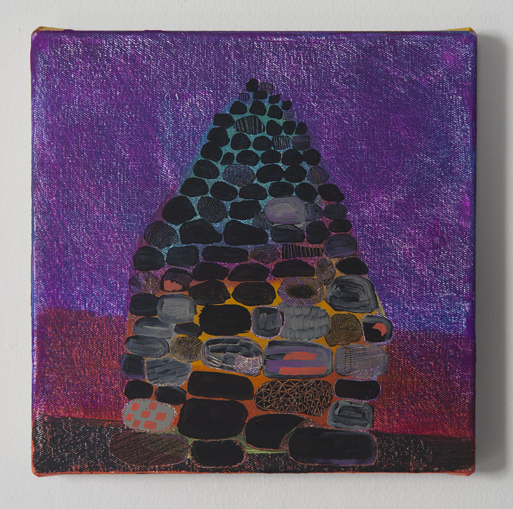"Magic Cairn #1, Oil and cold wax on canvas, 9"" x 9"""