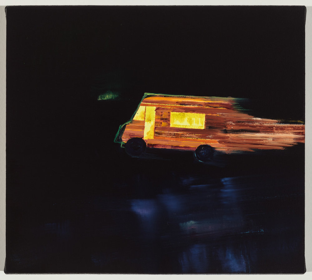 "Ghost Log Cabin Food Truck, Oil on canvas, 9"" x 10"""