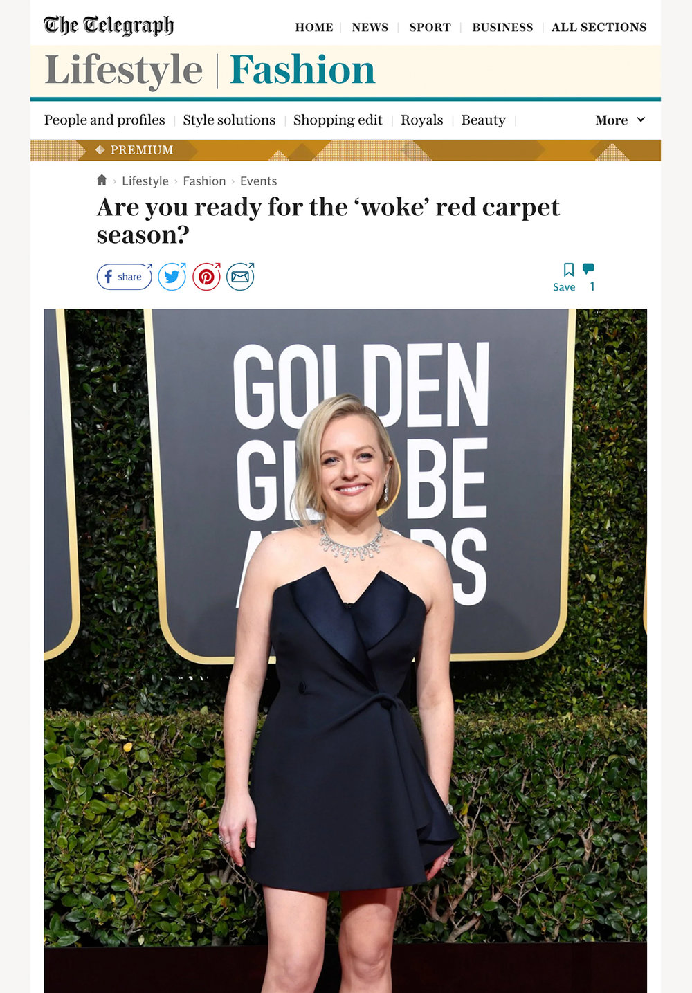 The telegraph - ARE YOU READY FOR THE 'WOKE' RED CARPET SEASON?