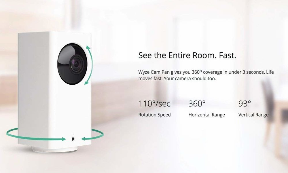 Wyze Cam Pan 1080p Pan/Tilt/Zoom Wi-Fi Indoor Smart Home Camera - Wyze Cam Pan gives you 360-degree coverage in under 3 seconds. Life moves fast. Your camera should too. Wyze Cam Pan works with Alexa. Control Wyze Cam Pan with your voice by saying,