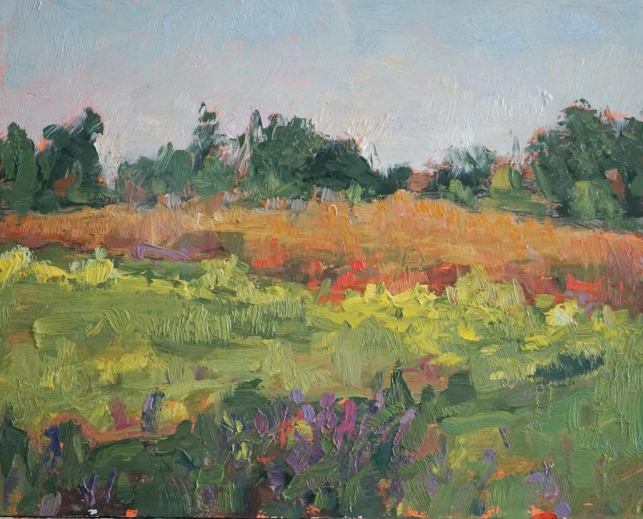 """Autumn Wildflowers, 8"""" X 10"""" oil on panel"""