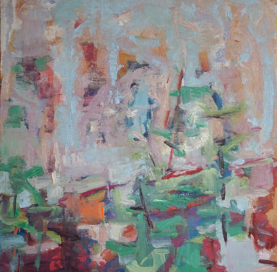 "Summer Pond,  20"" X 20"" oil on canvas"