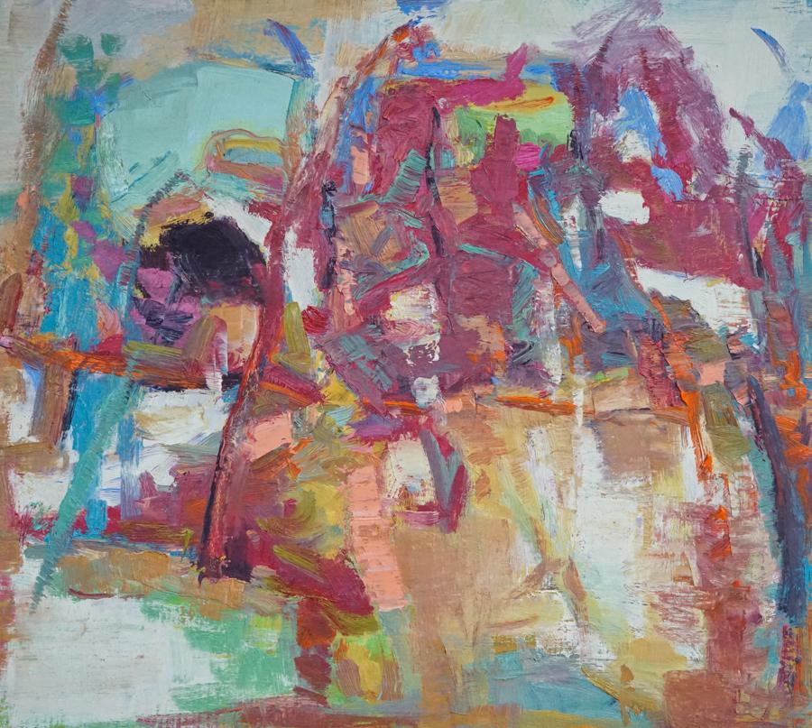 """Autumn Walk, 18"""" X 20"""" oil on canvas"""