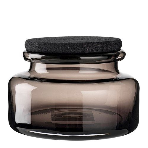 Storage Jar - Smoke Glass With Black Cork LidLouise Roe Copenhagen