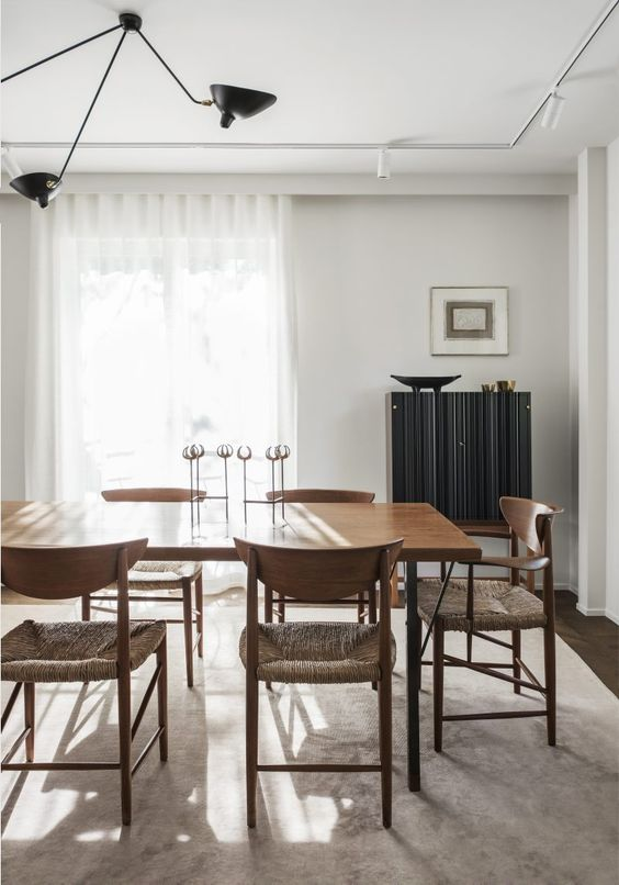 Kitchen Dining Table by Peter Hvidt and Orla Molgaard, 1960s | Chairs by Peter Hvidt | Tea Trolley and Cabinet by Josef Frank for Svenskt Tenn | Ceiling Lamp by Serge Mouille