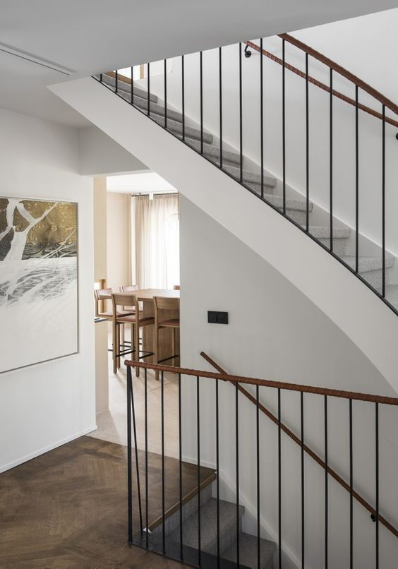 Staircase Railing Wrapped in Soft Leather by Liljencrantz Design