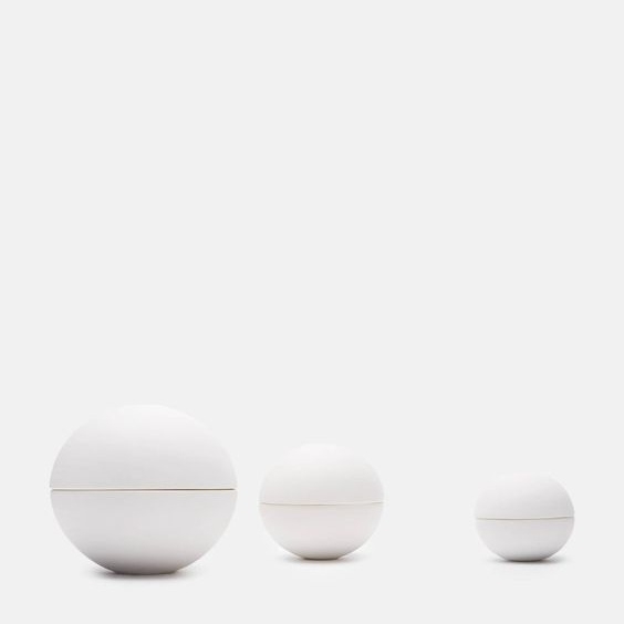 spherical ceramics - Matte White Lidded ContainerJulie Bonde Bülck