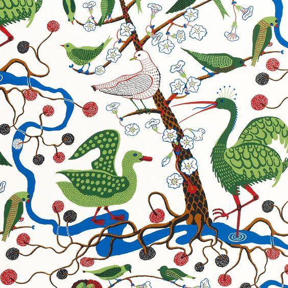 Josef Frank Textile Gröna Fåglar | Svenskt Tenn