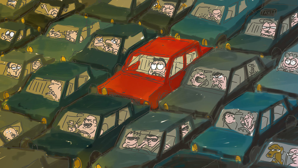 Speed Painting [10] 30/03/2018: in the traffic/nel traffico