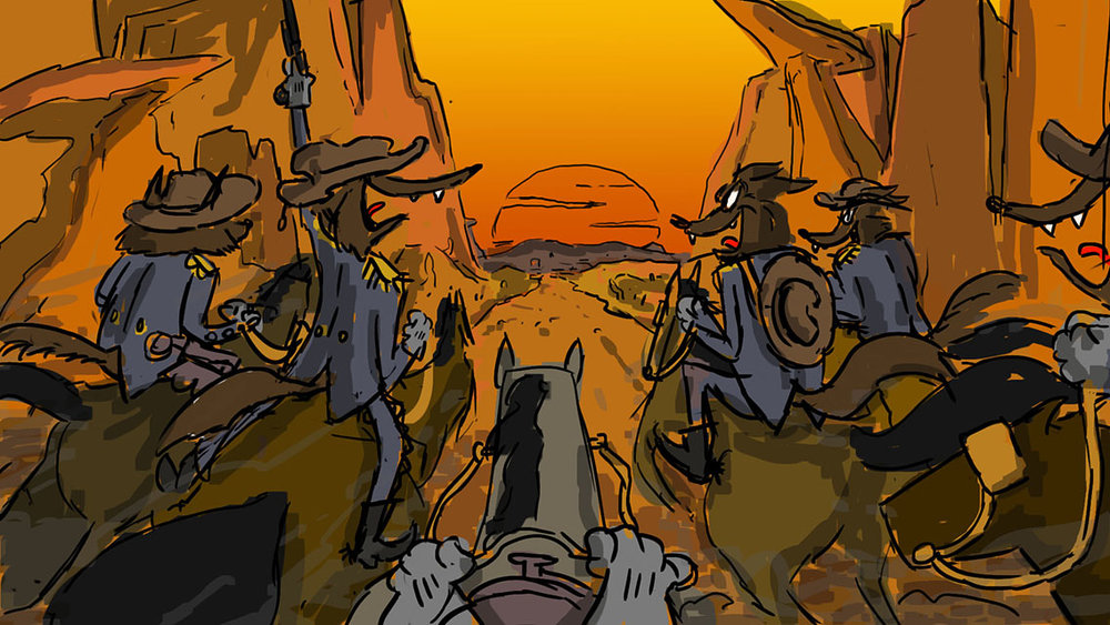 Speed Painting [64] 23/05/2018: coyotes at the gallop/coyote al galoppo