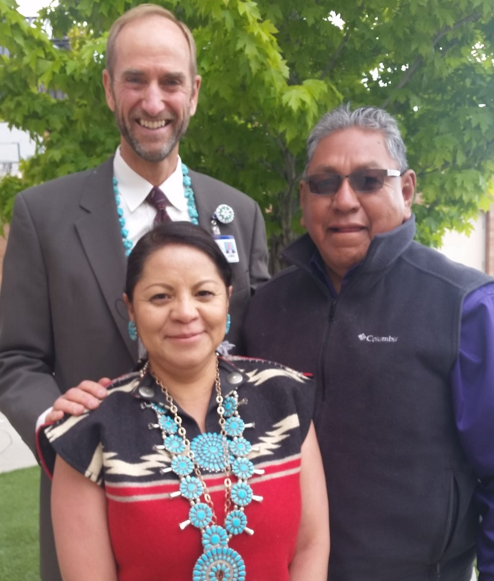 Navajo interpreter and Native American healer after annual blessing of hospital ceremony.