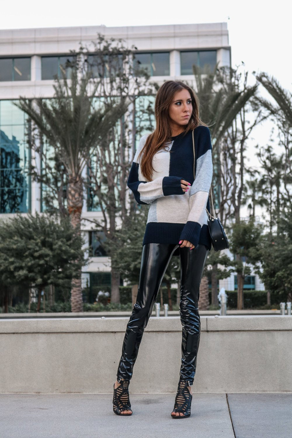 The Hungarian Brunette Color block sweater and latex pants (6 of 19).jpg